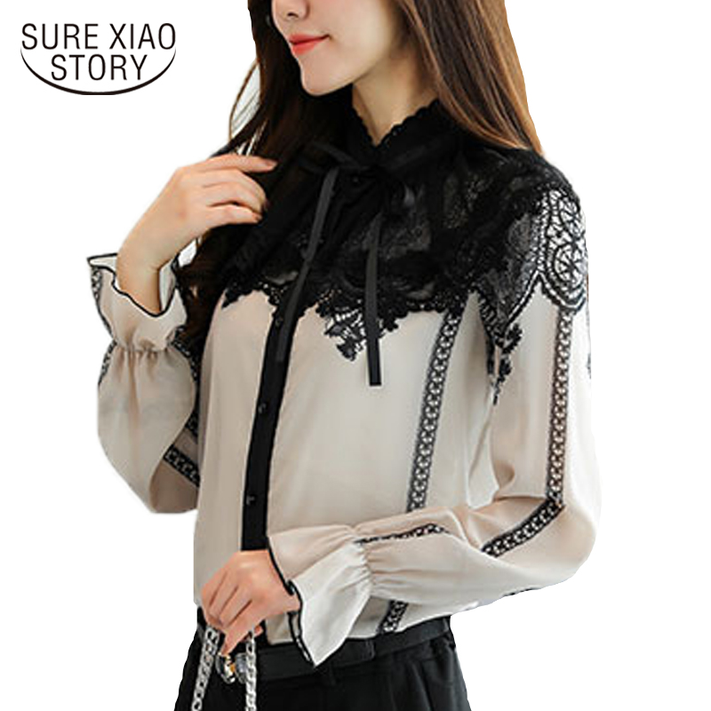 Back To Search Resultswomen's Clothing Neploe Lace Patchwork Bow Chiffon Blouse Flare Sleeve Ruffles Single Breasted Women Tops Stand Collar Bandage New Blusas 68442