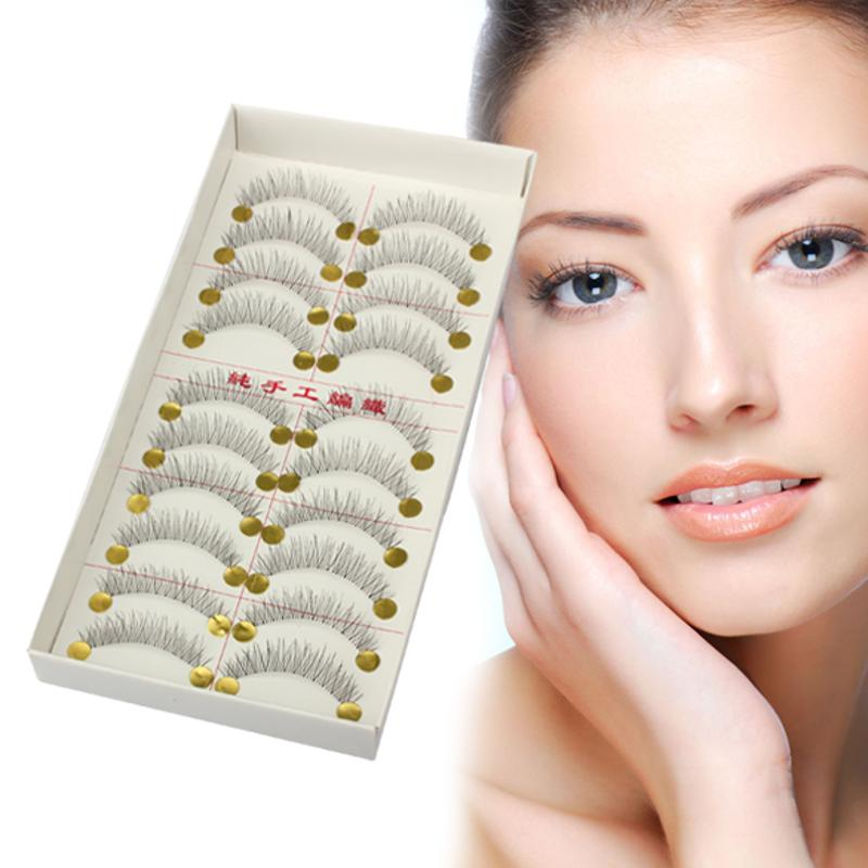 Natural Long 10 Pairs Thin Fake False Eyelashes Eye Lashes Extension Cross Makeup Charming Sexy Lady Eyelash Make Up Tools Woman
