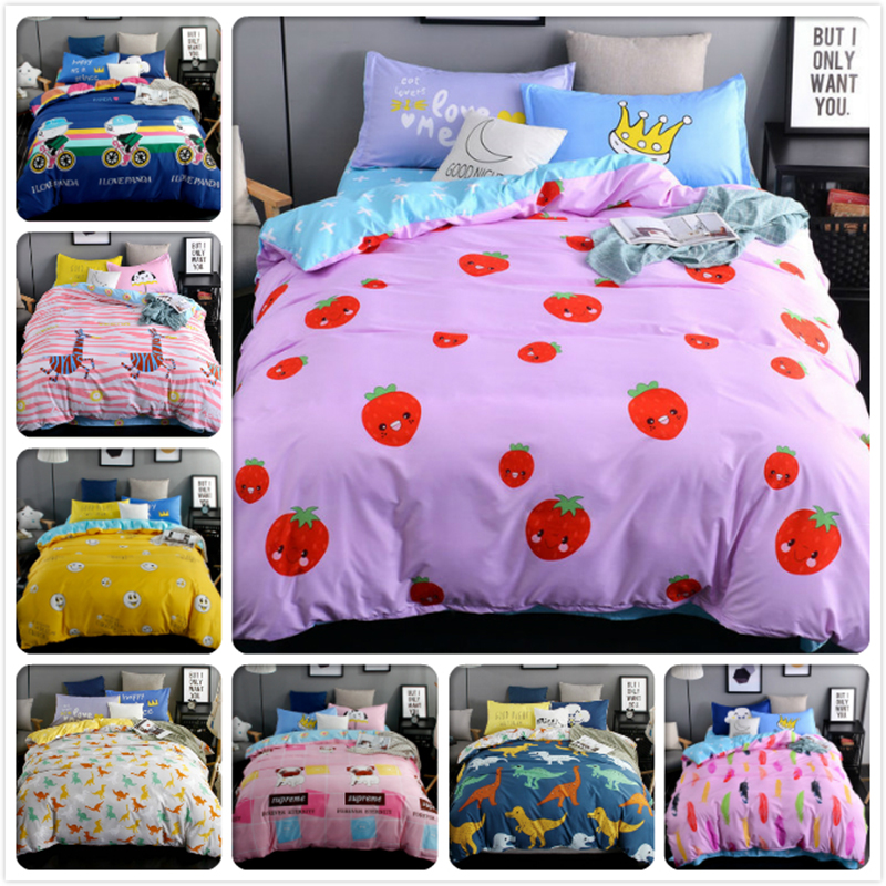 Winter Pink Bedlinen 3/4 pcs Bedding Set Kids Bedclothes 1.2m 1.5m 1.8m 2m Bedsheet Queen Double Twin Dize Duvet Cover Bed Linen