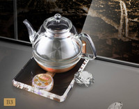 Add thick crystal glass electric kettle black tea brew teapot raise smart stove Overheat Protection