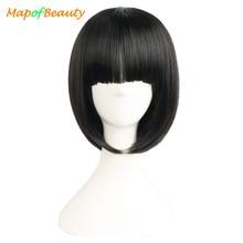 MapofBeauty 12 дюймов короткий прямой боб парик с челкой черные парики для женщин термостойкие синтетические волосы костюм косплей парики