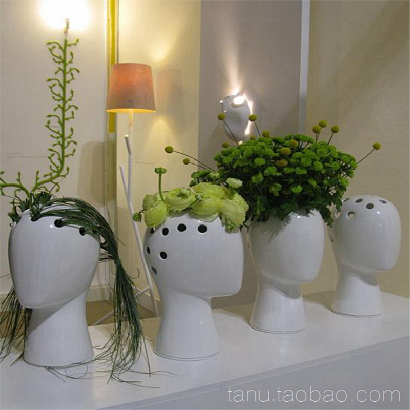 The Wig Human Head White Black Decorative Bastract Ceramic Vase