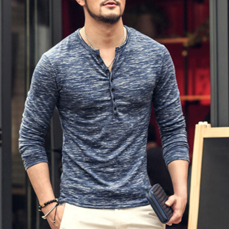 Autumn Pullovers Men's T Shirt Muscle Tee Long Sleeve Fashion Male Tee Tops Slim Fit Button Plain Casual Shirts Hombre Camisa