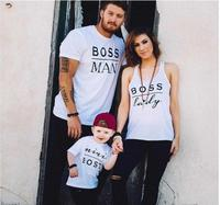 Family Clothing Outfits Mother Daughter Father Matching Cloth Boss T Shirts Girls Boys Kids Clothes Mom