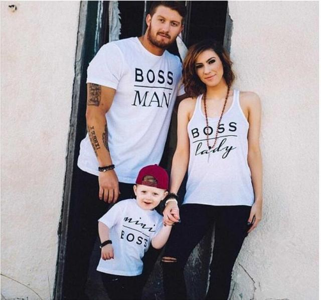 42590f28f347 Family clothing Outfits Mother Daughter Father Matching cloth Boss T ...
