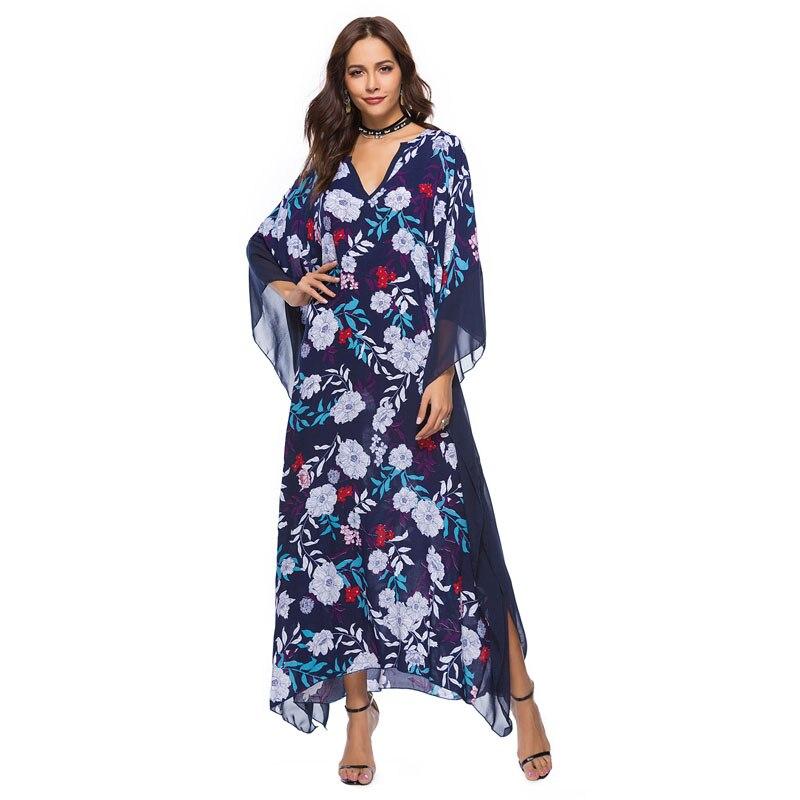 Bohemian Women Sexy V-neck Dress Vestidos Elegant Printing Ladies Beach Dresses Female Batwing Sleeve Frocks MSL102