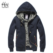Фотография HanHent Super Thickened Brand Men Coats Faux Fur Fashion Mens Tracksuit Wear Polo Hoodie Winter Sweatshirt AG0014