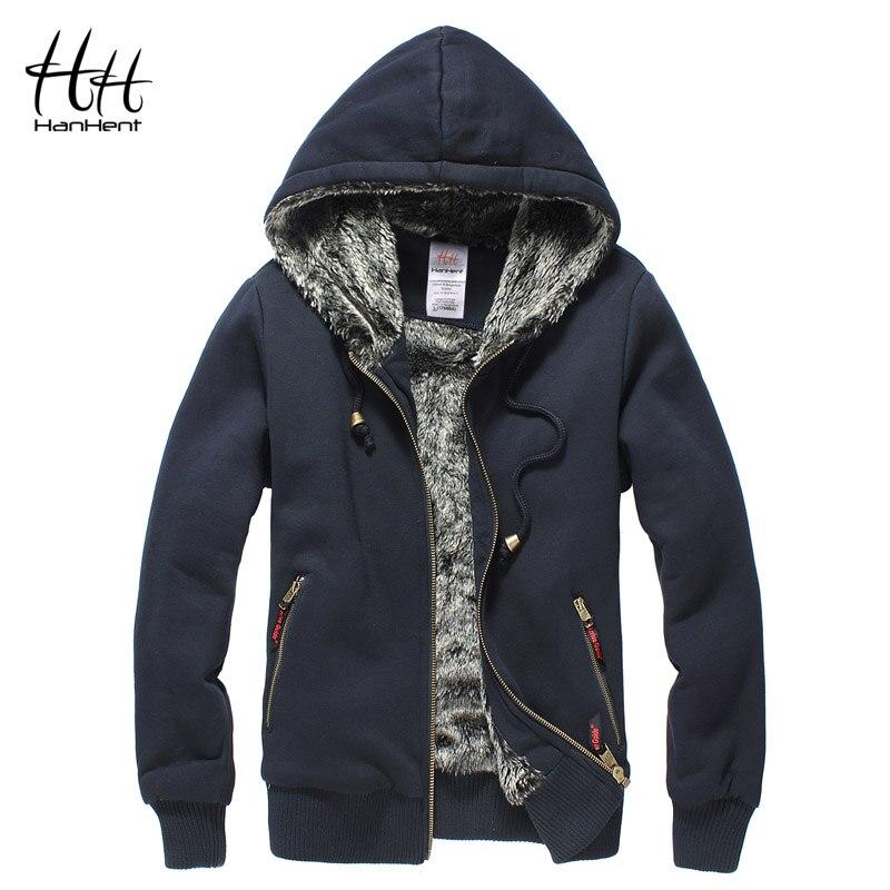 HanHent Super Thickened Brand Men Coats Faux Fur Fashion Mens