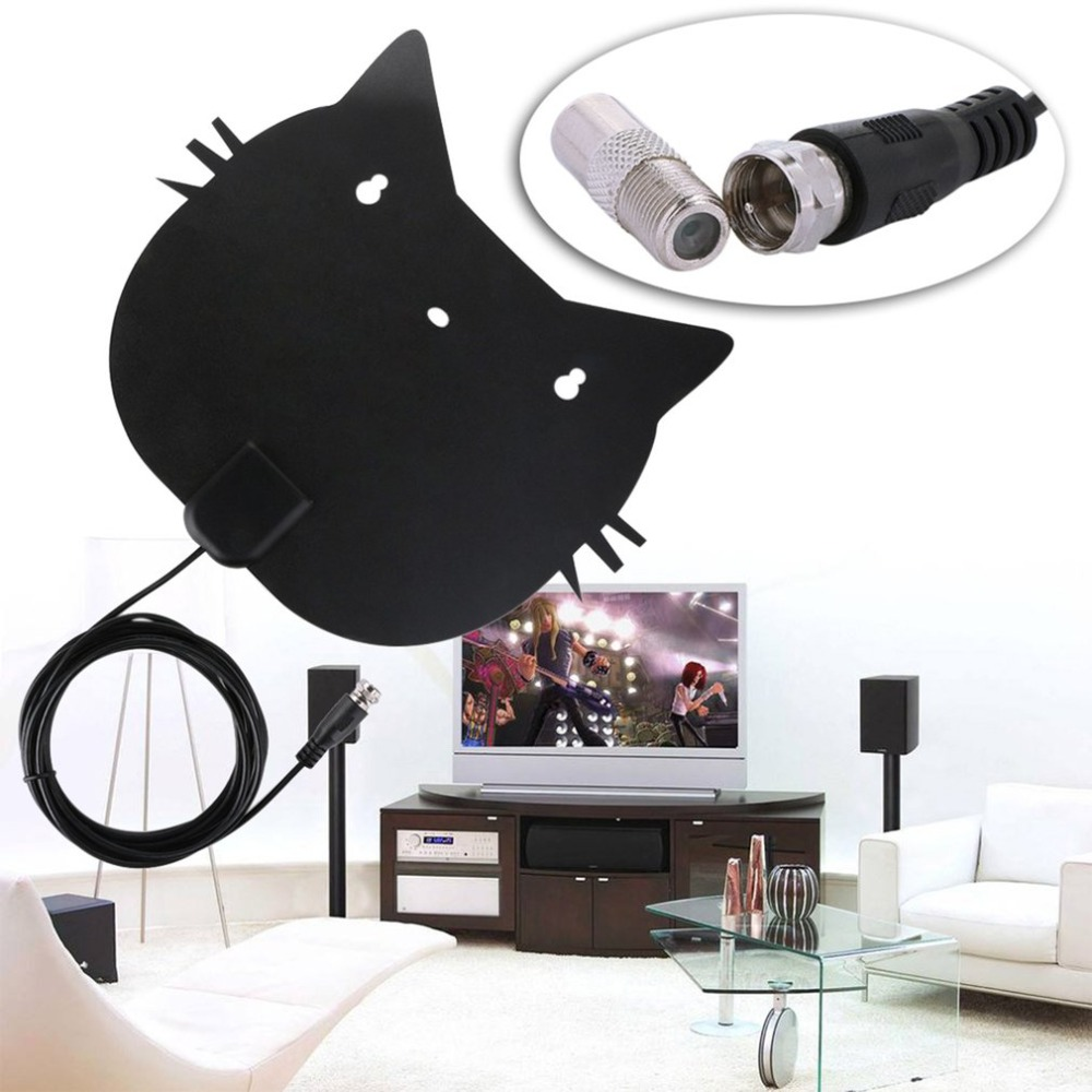 Mini Digital TV Aerial Lovely Cat Shape VHF UHF Television Aerial 1080P HD 50 Miles Reception Range Indoor Aerial simple fashion hdtv amplified indoor digital tv aerial with high gain hdtv 50 miles reception range home use