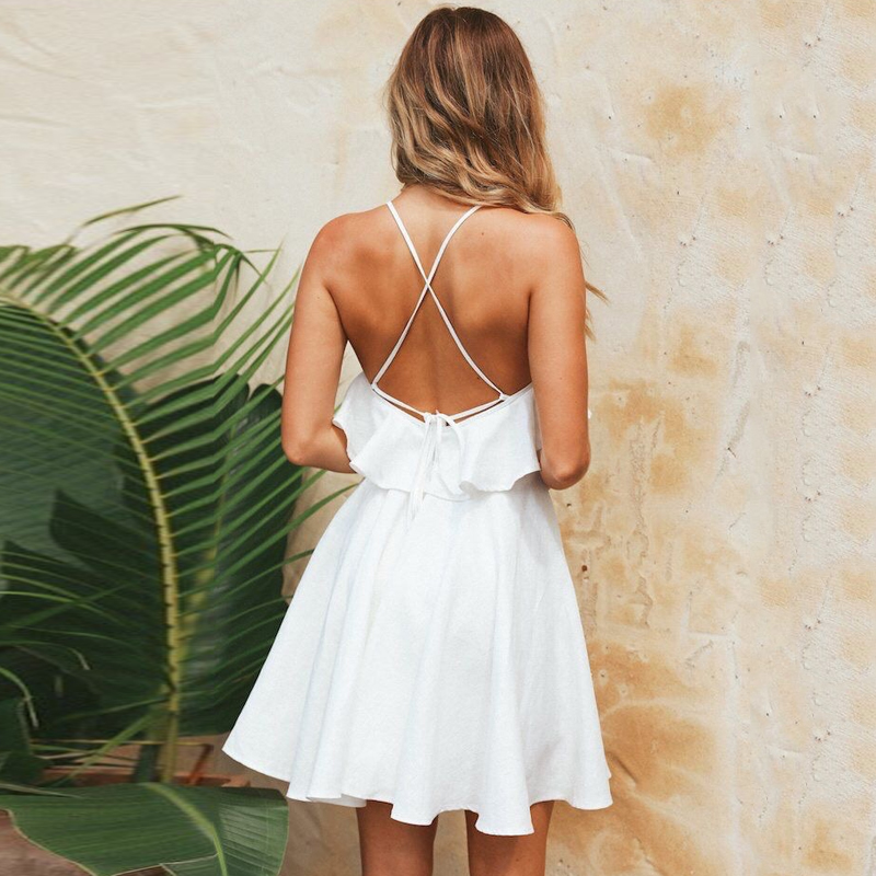 e4d690119a DeRuiLaDy 2019 Women Summer Straps Beach Chiffon Dress Sexy V Neck Open  Back Lace Up Ruffles Mini Dresses Casual Dress Vestidos-in Dresses from  Women's ...