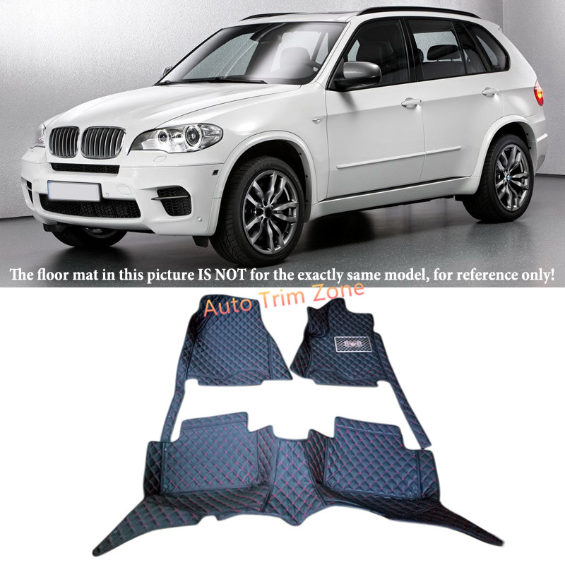 Black Interior Floor Mats & Carpets For BMW X5 E70 7-Seat Model 2008 - 2013 seven seats cars dedicated floor mats rubber feet thick waterproof latex non slip easy to clean carpets for highlander