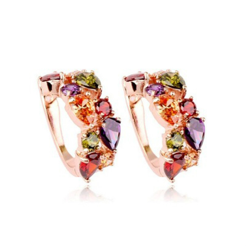 Stylish font b Luxury b font Rose Gold Earrings Wholesale For Women With Colored Zircon Crystal