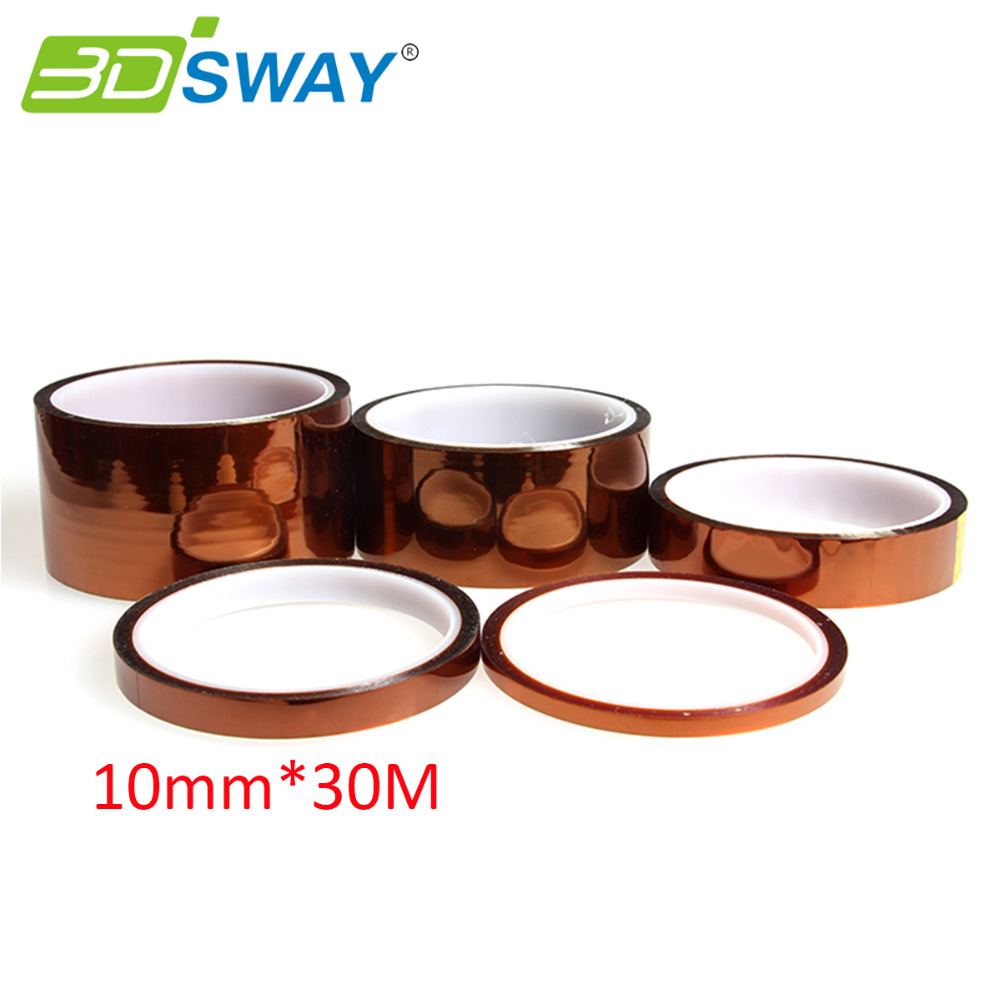 3DSWAY 10mm*30M Adhesive Tape High Temperature Heat Resistant Polyimide for 3D Printer Kit