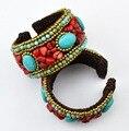 New Fashion Bohemian Estilo Étnico Ampla Pulseiras & Pulseiras de Semente de Contas Coloridas Handmade Braid Rope Cuff Bracelet Mulheres Jóias