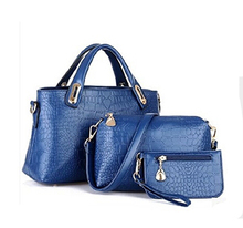 2016 New 3 PCS Set Crocodile Handbag Leather Women Handbags Shoulder Bags Crocodile Women Messenger Bags