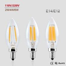 Ampoule à Filament E14 E12, puissance réelle 2W 4W 6W ac 220V 230V 110V 127V, lampe à intensité réglable Edison, éclairage de bougies en verre