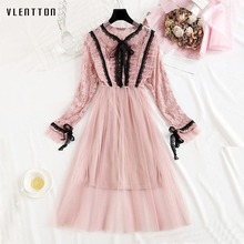 Vestidos new Mesh midi dress ladies spring Summer 2019 Casual Long Sleeve A-Line lace dress Bow Ruffles elegant dress women long sleeved dress women 2019 spring summer new simple stripes turn down collar slim a line casual elegant dress midi s xl