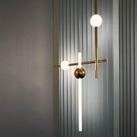 Minimalist modern horizontal vertical combination pendant lighs metal luminous ball restaurant cafe showroom bar pendant light