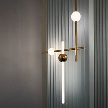 Minimalist modern horizontal vertical combination pendant lighs metal luminous ball restaurant cafe showroom bar light