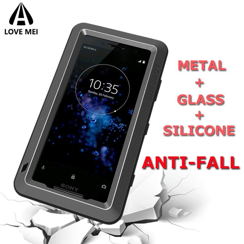 A prueba de golpes a prueba de caja de Metal para Sony Xperia XZ3 XZ2 XZ1 compacto XA XA1 XA2 Ultra XA1 más XZ Premium del teléfono de la armadura cubierta de vidrio