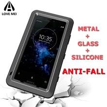 Love Mei Marque Pour Sony Xperia XZ1 XZ2 XZ3 Compact XZ Premium XA2 Ultra En Métal Antichoc Couverture de Téléphone Anti Chute Étui Darmure