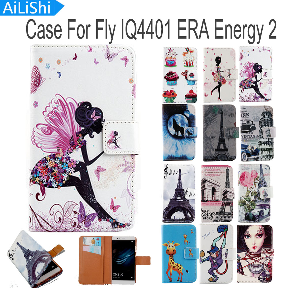 AiLiShi Flip PU Leather Case For Fly IQ4401 ERA Energy 2 Case High Quality Cartoon Painted Protective Cover Skin In Stock