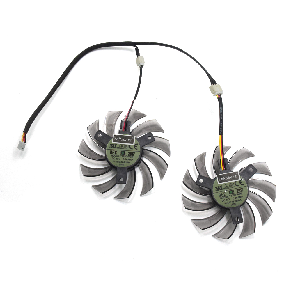 2pcs/lot T128010SM 75mm 3Pin 2Pin Cooler Fan Replace For Gigabyte N470SO N580UD N580SO GTX460 GTX470 GTX580 HD587 Graphics Card everflow t128010sm 75mm dc 12v 3pin 0 20a for gigabyte hd 6870 gtx470 gtx480 gtx570 gtx580 hd6970 graphics video card cooler fan