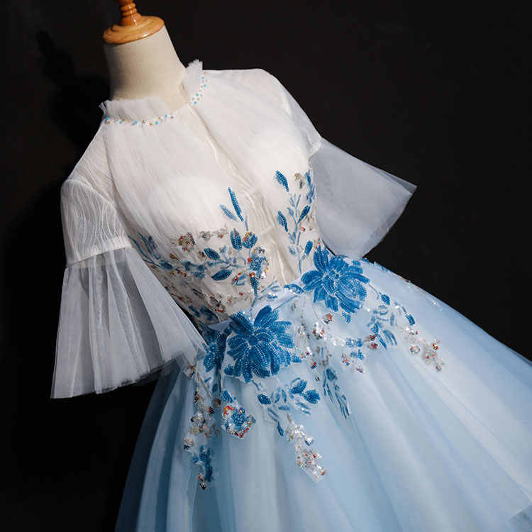 d09442acfcc8 free ship short light blue flower embroidery flare sleeve tutu lolita alice  cosplay short ball gown