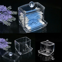 Acrylic Container Make Up organizer Transparent Cotton Swab Storage Box Case Portable Makeup Organizer
