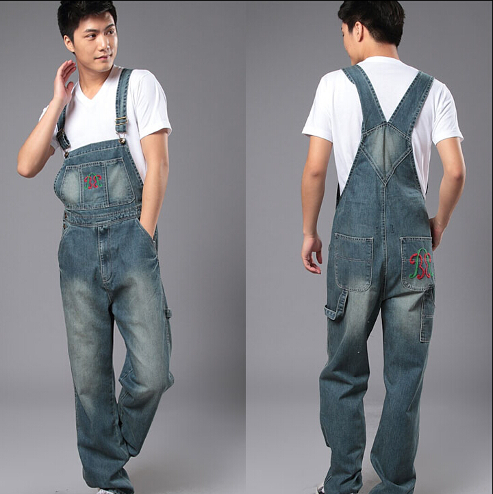 S-4XL2015 Men's denim bib pants male loose plus size casual jeans straight one piece long trousers suspenders overalls jumpsuit plus size pants the spring new jeans pants suspenders ladies denim trousers elastic braces bib overalls for women dungarees