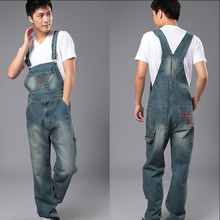 S-4XL2015 Men's denim bib pants male loose plus size casual jeans straight one piece long trousers suspenders overalls jumpsuit