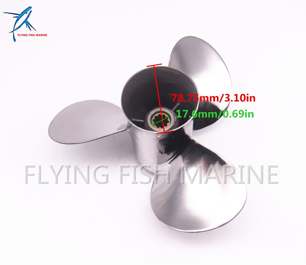 Boat Motor Stainless Steel Propeller 9 7 8x13 F for Yamaha 20HP 25HP 30HP Outboard Engine