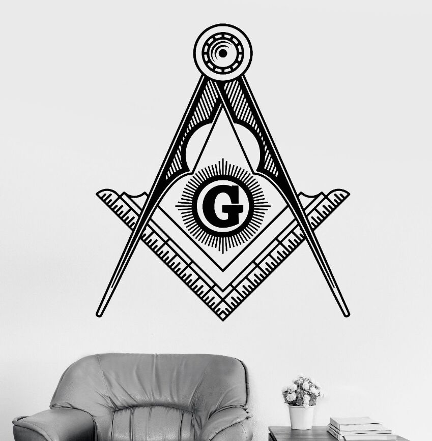US $7 33 26% OFF|Wall Art Mural Removable Vinyl Masonic Symbol Wall Sticker  Freemasonry Square And Compasses Wall Decals Home Decoration AY802-in Wall