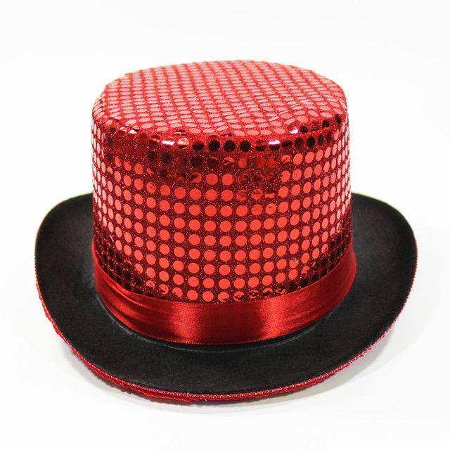 Christmas Top Hat.Us 16 9 7 Colors Adults Top Hat For Dance Magical Hats Jazz Hat Paillette Performance Caps Christmas Hats Festival Dance Accessories In Boys Costume
