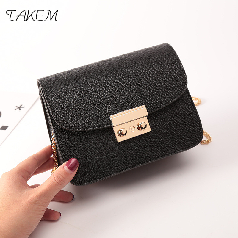TAKEM 2018 Square shoulder bag A stylish lock bag luxury handbags women bags designer wallets and bags for women Multiple colors stylish striped and metallic chains design shoulder bag for women