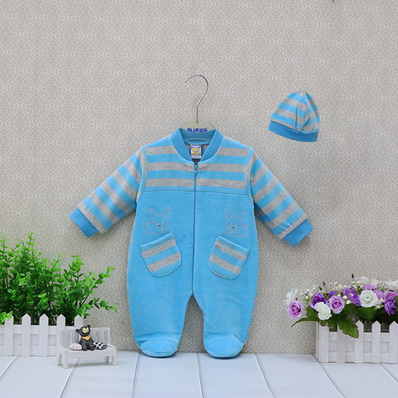 Girls Rompers Hat  Pieces set Baby Clothing Set Boys Striped Clothes Outfits Newborn Suits Verlour
