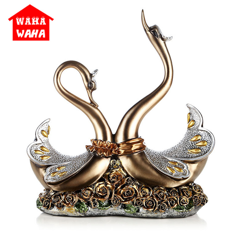 Resin Vivid Swan Crafts European-style Swan Set Out Creative Decorations for The Living Room and Study Decor Luxury FigurinesResin Vivid Swan Crafts European-style Swan Set Out Creative Decorations for The Living Room and Study Decor Luxury Figurines