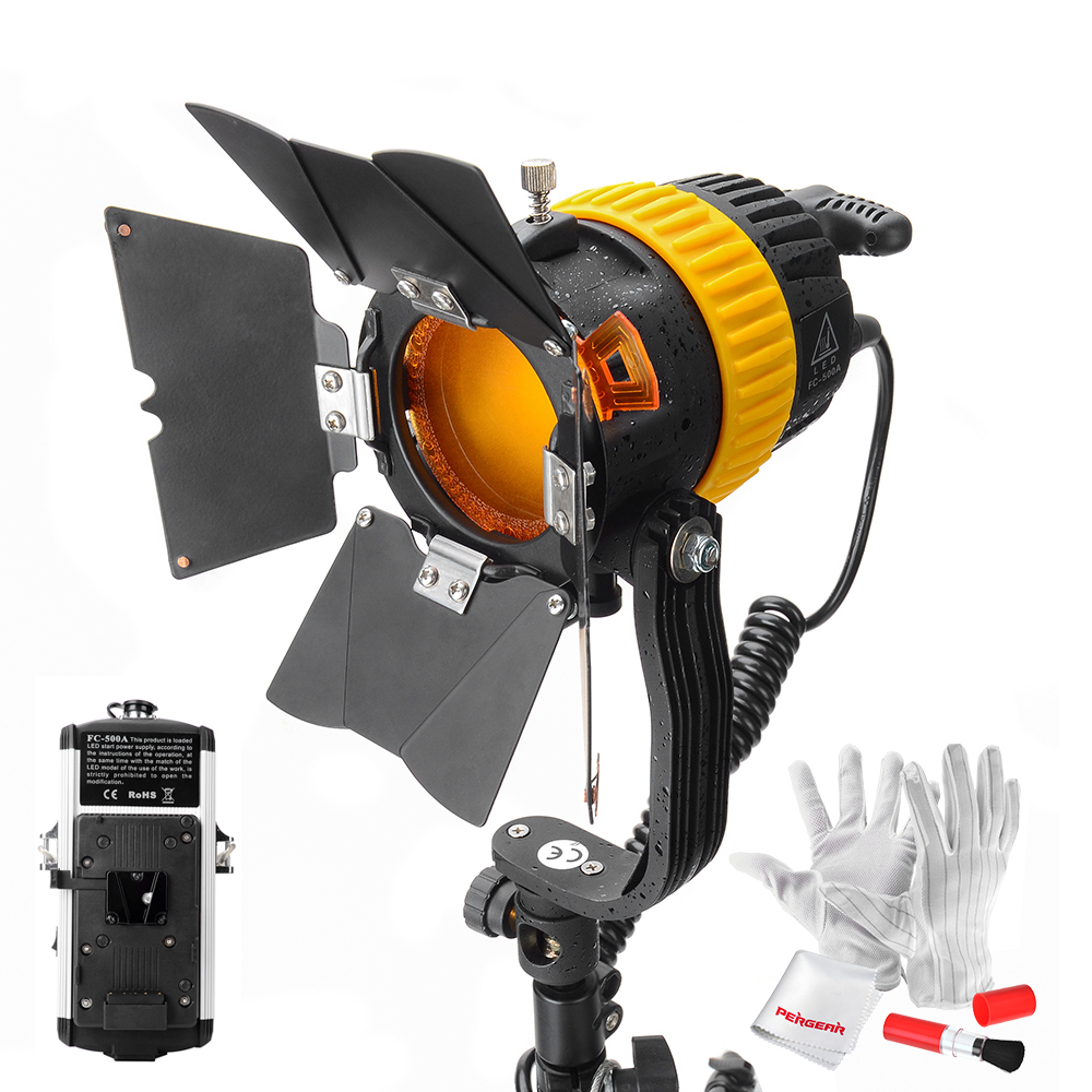 Portable CRI 90+ FC-500A 50W LED Spotlight and Floodlight Brightness Beam Angle Adjustable for Camera Video Light with V-Mount free shipping cri 90