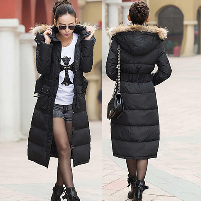 2019 Bloemen gedrukt eend donsjack vrouwen lange dikke slim winter jassen big fur hooded elegante womens winter parka lange LA0044