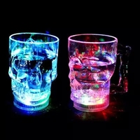 2016 New Moon Light LED Color Cup Skull Water Mug Flashing Beer Cup Cool Drink Wine