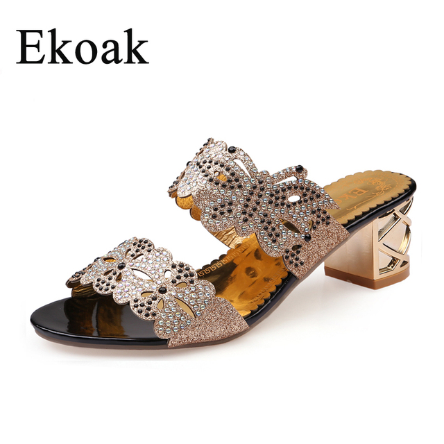 Ekoak 2018 New fashion rhinestone cut-outs women sandals Square heel Party  summer shoes woman high heels sandals with Butterfly fbdc6c2bf315