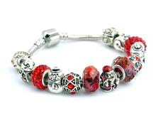 aliexpress hot sale Antique Silver snow man christmas man Murao Glass Beads Charm Bracelet & Bangle for Women  Vintage Jewelry