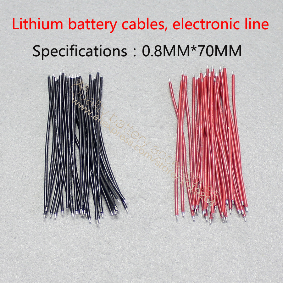 Купить с кэшбэком 30pcs/Double tin 0.8 * 100 mm AWG silicone red wire electronic line connecting 18650 lithium-ion batteries battery is special