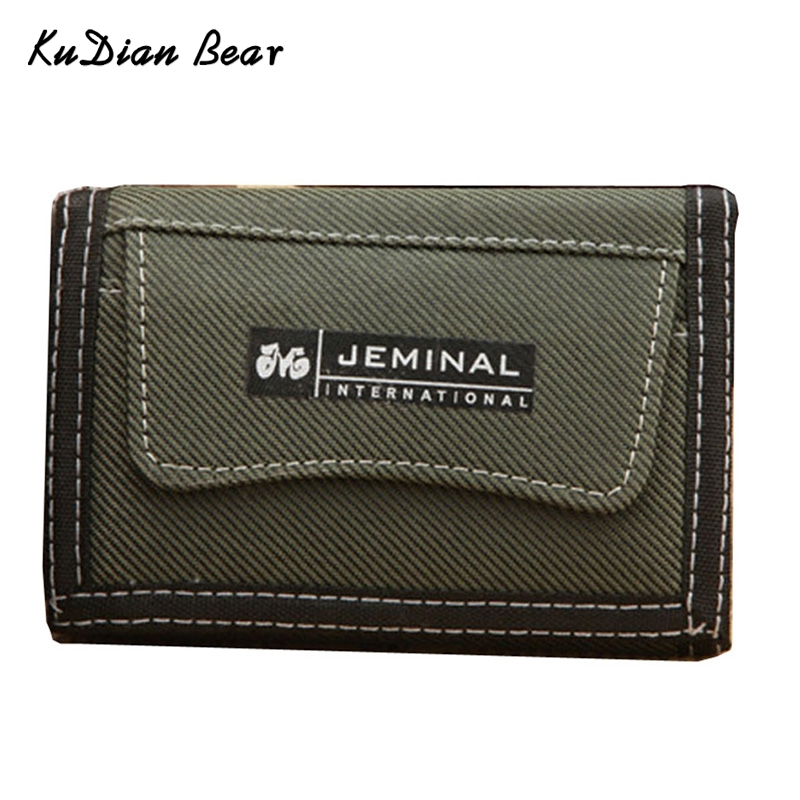 KUDIAN BEAR Canvas Short Men Wallet Coin Pocket Brand Credit Card Holder Small Travel Male Purse New 2017-- 01BID036 PM15(China)