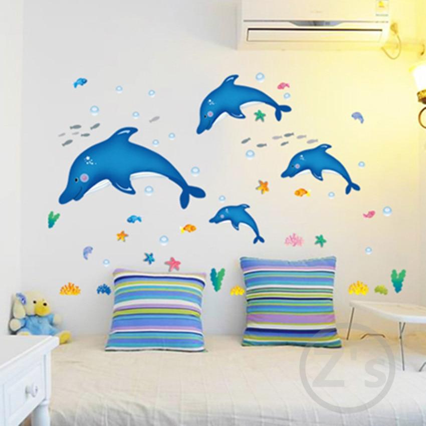 Zs Etiket delfin balıq dəniz divarı etiket vanna otağı bəzək - Ev dekoru - Fotoqrafiya 4