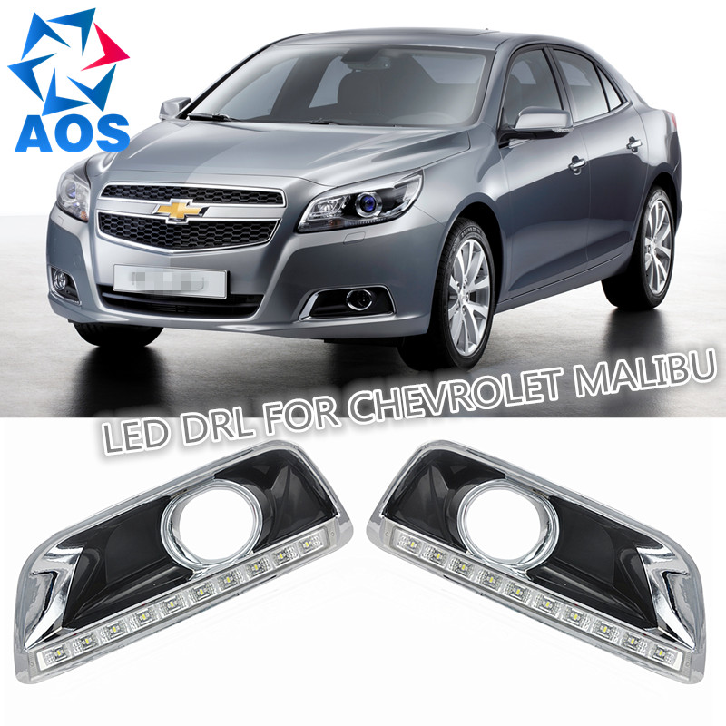 Turn off and dimming car daylight LED  DRL Daytime Running Lights kit for Chevrolet Malibu 2012 2013 2014 with fog lamp turn off and dimming style relay led car drl daytime running lights for ford kuga 2012 2013 2014 2015 with fog lamp