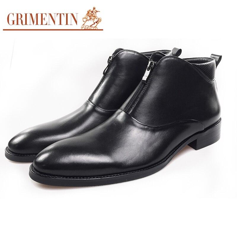 GRIMENTIN hombres botas con cremallera genuien cuero negro zapatos formales zapatos 2019 Venta caliente