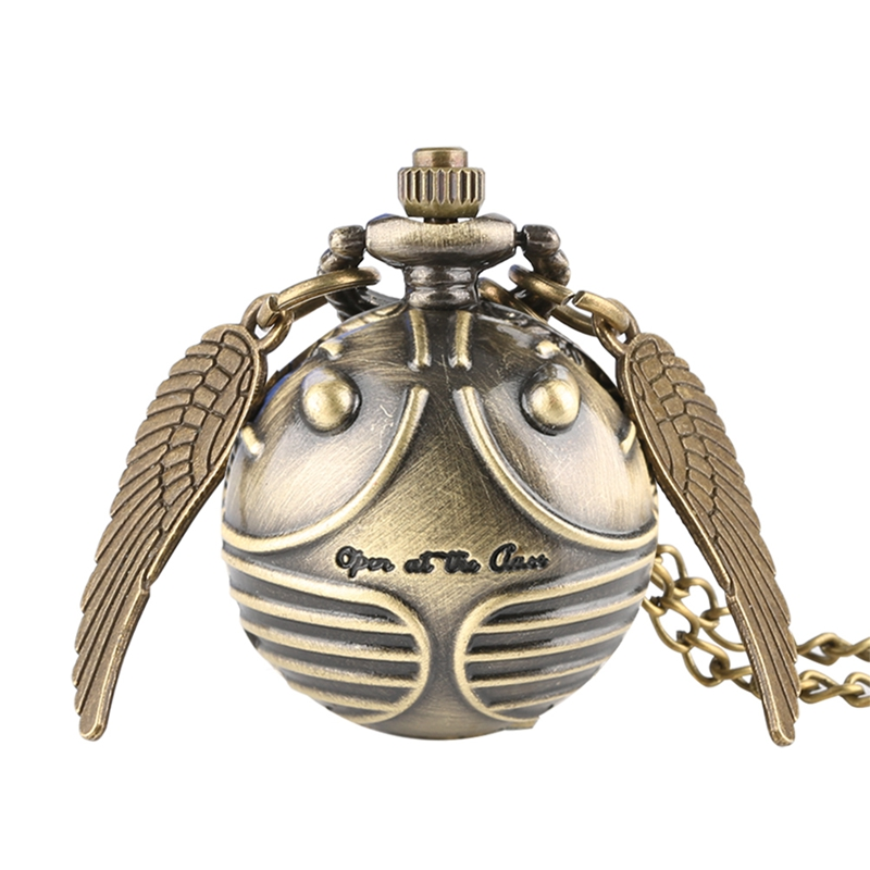 Retro Snitch Ball Shaped Potter Quartz Pocket Watch Fashion Sweater Angel Wings Necklace Chain Gifts for Men Women kids tote bag