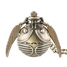 Retro Snitch Ball Geformt Potter Quarz Taschenuhr Mode Pullover Engel Flügel Halskette Kette Geschenke für Männer Frauen kinder
