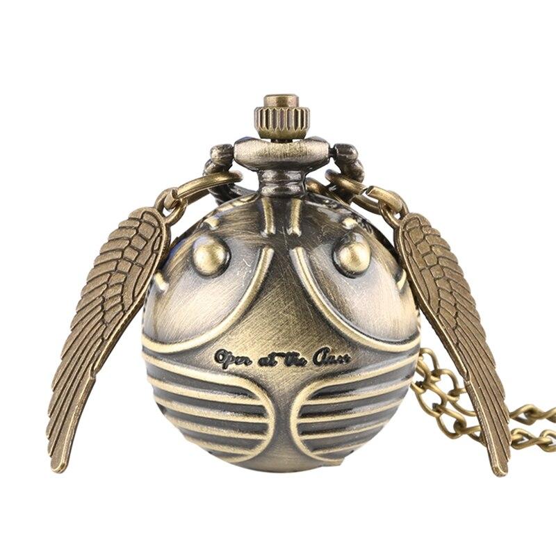 Retro znicz w kształcie piłki Potter kieszonkowy zegarek kwarcowy moda sweter Angel Wings naszyjnik łańcuch prezenty dla kobiet mężczyzn dzieci